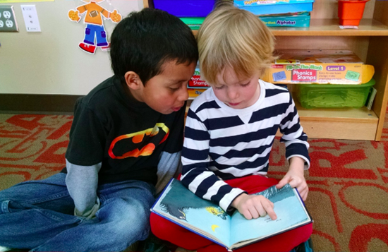 Two elementary school boys reading a book